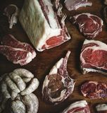 Cuts of beef food photography recipe idea Royalty Free Stock Photo