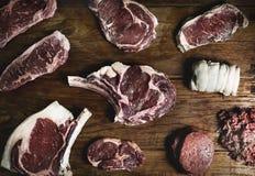 Cuts of beef food photography recipe idea Stock Photos