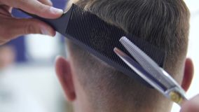 Barber cuts the hair of the client with scissors. Cuts the hair of the client with scissors stock video footage