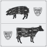 Cuts of pork and beef. American method. Vintage style. royalty free illustration