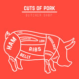 Cuts of pork Stock Image