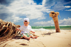 Cutte little boy relaxing on a beach Stock Photos