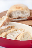 Cutted bread with somun in the background Royalty Free Stock Images