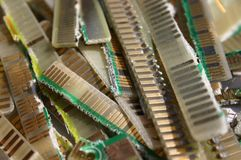 Cutted contacts from printed circuit boards Royalty Free Stock Photography