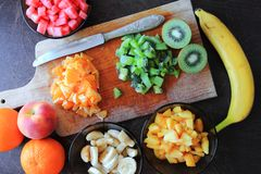 Cutted fruits for salad Stock Image