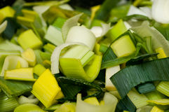 Cutted leeks texture. Cutted raw leeks closeup texture Stock Photo