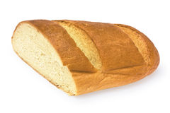Cutted long loaf. Isolated cutted long loaf on the white background Royalty Free Stock Photography
