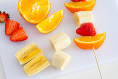 Cutted mixed fruits Stock Photo