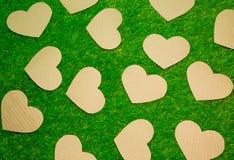Cutted-Papierherzen auf dem Gras Lizenzfreies Stockfoto
