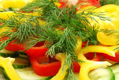 Cutted Pepper and Dill Stock Photo