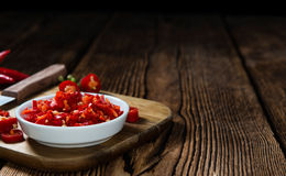 Cutted red Chilis Stock Photo