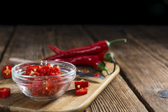 Cutted red Chilis Royalty Free Stock Images