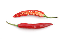 Cutted Red hot chili peppers Royalty Free Stock Images