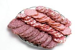 Cutted sausage on a dish Royalty Free Stock Images