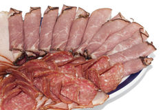 Cutted smoked sirloin, smoked ham and sausage on a plate Stock Images