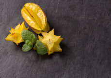 Cutted starfruit or carambola. Healthy dessert Royalty Free Stock Photo