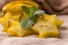 Cutted starfruit or carambola. Healthy dessert Royalty Free Stock Photos