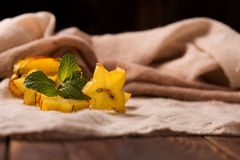 Cutted starfruit or carambola. Healthy dessert Stock Image
