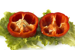 Cutted sweet red pepper on salad leaves Royalty Free Stock Photos