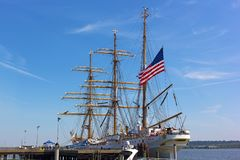 Alexandria welcomes a U.S. Coast Guard tall ship to its docks in Virginia, USA. royalty free stock photography