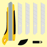 Cutter knife (office paper knife) with details. Cutter knife (office paper knife) in details. Flat style design Royalty Free Stock Photography