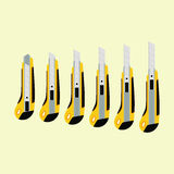 Cutter knife (office paper knife) in different positions. Flat style design Royalty Free Stock Images