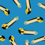 Cutter knife (office paper knife) seamless pattern. Flat style design Royalty Free Stock Photos