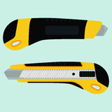 Cutter knife (office paper knife). From two sides in flat style design Stock Image