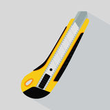 Cutter knife (office plastic paper knife). In flat colors design with shadow Stock Photos