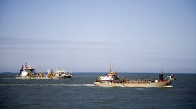 Cutter suction dredger 1. Cutter suction dredgers are dredging the Port of Rotterdam Royalty Free Stock Photos