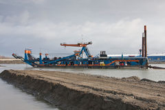 A cutter suction Dredger. The cutter suction Dredger zeeland 2 stock images