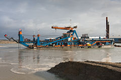 A cutter suction Dredger. The cutter suction Dredger zeeland 2 royalty free stock photos