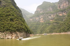 Cutter & tourist boat on Yangtze river. Cutter and tourist boat at the bend of Yangtze river, China royalty free stock photography