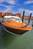 Cutter is in Venice canal Stock Image