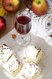 Cutters biscuit, apple and a glass of red wine Stock Image
