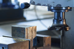 Cutters of CNC milling machine. In workshop Stock Photos