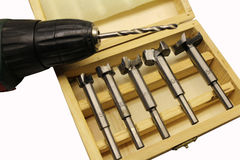 Cutters for drilling in a wooden box Stock Photos