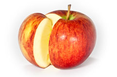 Cuttet apple. A cuttet apple isolated on a white background stock photo