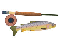 Cutthroat Trout with Fly Rod. Illustration of cutthroat trout with fly rod Royalty Free Stock Photo