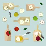 Cutting apples Stock Images