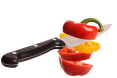 Cutting bell pepper Royalty Free Stock Photography