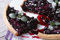 Cutting blueberry pie with mint and powdered sugar on a plate Stock Photo