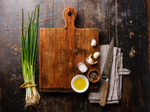 cutting board background with seasoning royalty free stock image