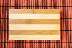 Cutting board on bamboo mat Royalty Free Stock Image