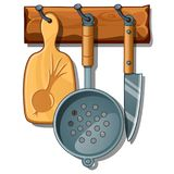 Cutting board, colander, knife. Set of kitchen implements on wooden rack. Vector in cartoon style isolated on white Royalty Free Stock Image