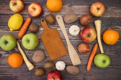 Cutting board and food. On table stock photo