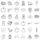 Cutting board icons set, outline style. Cutting board icons set. Outline style of 36 cutting board vector icons for web isolated on white background Stock Photography