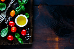 Cutting board and ingredients Royalty Free Stock Image