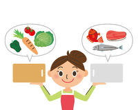 Cutting board and ingredients. Distribute it; and a dish image illustration Stock Photography