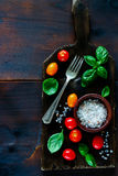 Cutting board and ingredients Royalty Free Stock Photos